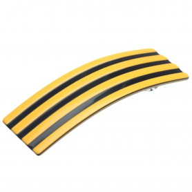 Medium size rectangular shape Hair barrette in Maize yellow and black