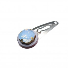Very small size round shape Hair snap in Pewter grey and raspberry