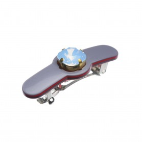 Small size special ornament Hair clip in Pewter grey and raspberry