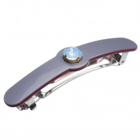Medium size long and medium width shape Hair barrette in Pewter grey and raspberry