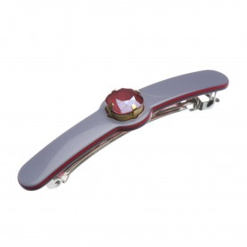 Medium size special ornament Hair barrette in Pewter grey and raspberry
