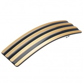 Medium size rectangular shape Hair barrette in Gold and black