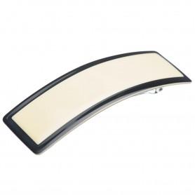Medium size rectangular shape Hair barrette in Ivory and black