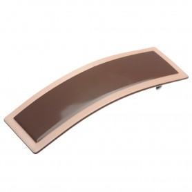Medium size rectangular shape Hair barrette in Dark brown and old pink