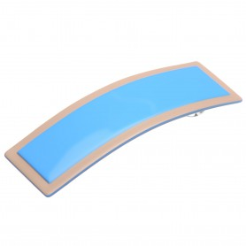 Medium size rectangular shape Hair barrette in Blue and hazel