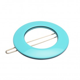 Small size round shape Hair clip in Turquoise and black