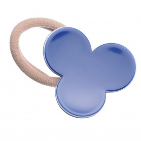 Medium size flower shape Hair elastic with decoration in Blue and white