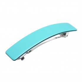 Medium size rectangular shape Hair barrette in Turquoise and black