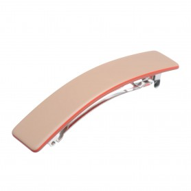 Medium size rectangular shape Hair barrette in Hazel and coral