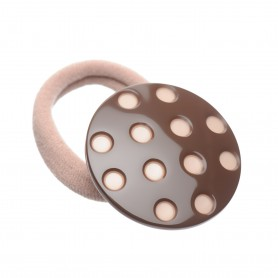 Medium size round shape Hair elastic with decoration in Dark brown and old pink
