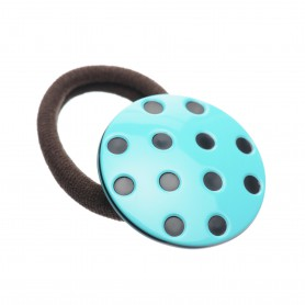 Medium size round shape Hair elastic with decoration in Turquoise and black
