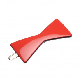 Small size bow shape Hair clip in Marlboro red and black