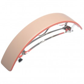 Very large size rectangular shape Hair barrette in Hazel and coral