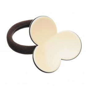 Medium size flower shape Hair elastic with decoration in Ivory and black
