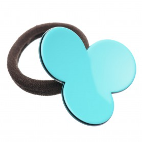 Medium size flower shape Hair elastic with decoration in Turquoise and black