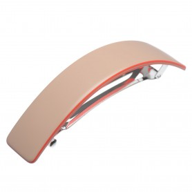 Large size rectangular shape Hair barrette in Hazel and coral