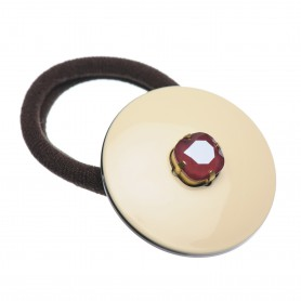 Medium size round shape Hair elastic with decoration in Ivory and black