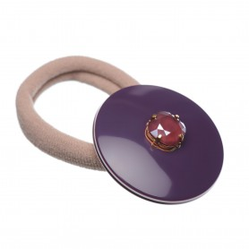 Medium size round shape Hair elastic with decoration in Violet and ivory