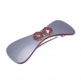 Medium size bow shape Hair barrette in Pewter grey and raspberry