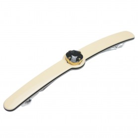 Medium size long and skinny shape Hair barrette in Ivory and black