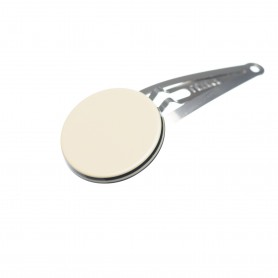 Very small size round shape Hair snap in Ivory and black