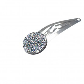 Very small size round shape Hair snap in Silver glitter
