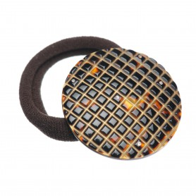 Medium size round shape Hair elastic with decoration in Dark brown demi and gold