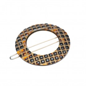 Small size round shape Hair clip in Dark brown demi and gold