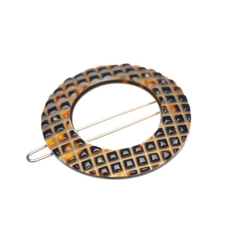Small size round shape Hair clip in Dark brown demi and gold shiny finish