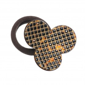 Medium size flower shape Hair elastic with decoration in Dark brown demi and gold