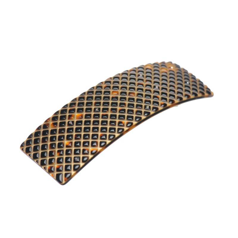 Medium size rectangular shape Hair barrette in Dark brown demi and gold shiny finish