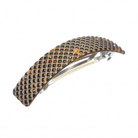 Large size rectangular shape Hair barrette in Dark brown demi and gold