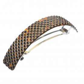 Very large size rectangular shape Hair barrette in Dark brown demi and gold