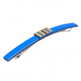 Medium size long and skinny shape Hair barrette in Fluo electric blue and gold