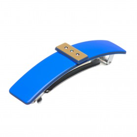 Medium size rectangular shape Hair barrette in Fluo electric blue and gold