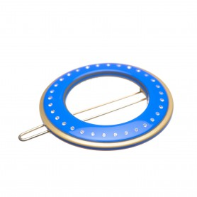 Small size round shape Hair clip in Fluo electric blue and gold