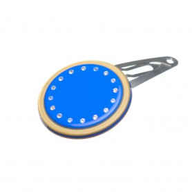Very small size round shape Hair snap in Fluo electric blue and gold