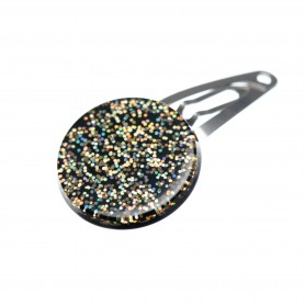 Very small size round shape Hair snap in Gold glitter