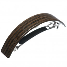 Very large size rectangular shape Hair barrette in Wood