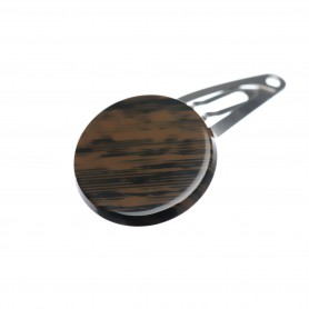 Very small size round shape Hair snap in Wood