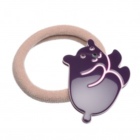 Medium size bear shape Hair elastic with decoration in Violet and ivory