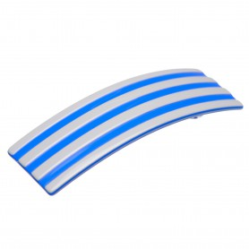 Medium size rectangular shape Hair barrette in Light grey and fluo electric blue