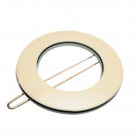 Small size round shape Hair clip in Ivory and black