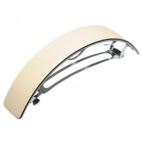 Very large size rectangular shape Hair barrette in Ivory and black