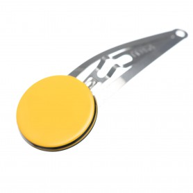 Very small size round shape Hair snap in Maize yellow and black