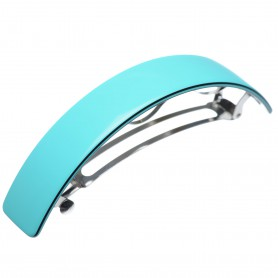 Large size rectangular shape Hair barrette in Turquoise and black