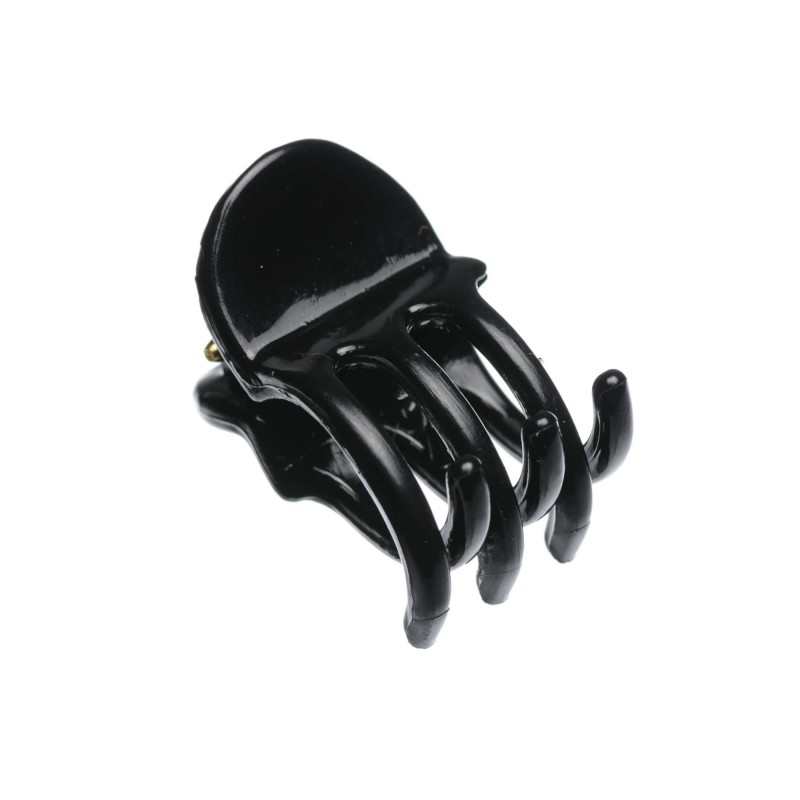 Very small size regular shape Hair jaw clip in Black shiny finish