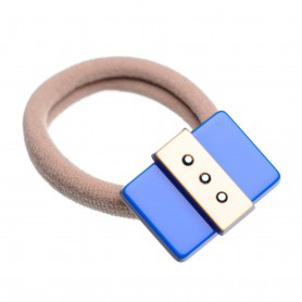 Medium size rectangular shape Hair elastic with decoration in Fluo electric blue and gold