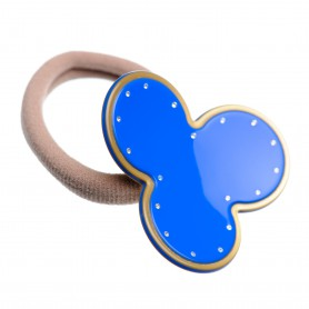 Medium size flower shape Hair elastic with decoration in Fluo electric blue and gold