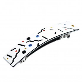 Medium size rectangular shape Hair barrette in White and black